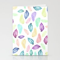 Modern colorful boho watercolor feathers hand painted pattern Stationery Cards