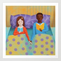 lovers in bed Art Print