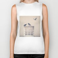 Let me be a bird in your window - vintage retro, beige cream, urban, black and white photography Biker Tank
