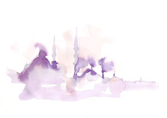 Watercolor landscape illustration_Istanbul Art Print
