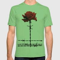 Barbed wire red rose Mens Fitted Tee Grass SMALL