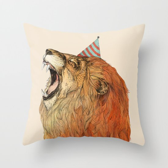 Birthday Lion Throw Pillow