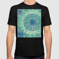 Emerald Doodle Mens Fitted Tee Tri-Black LARGE
