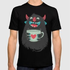 Demon with a cup of coffee SMALL Mens Fitted Tee Black
