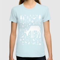 Deer in the Woods Womens Fitted Tee Light Blue SMALL