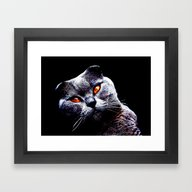 Framed Art Print featuring Cat With The Devil In Hi… by Annie Zeno