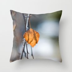 Last Leaf of Winter Throw Pillow