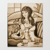 Canvas Print featuring Woman and Cat by Shantelle Knight
