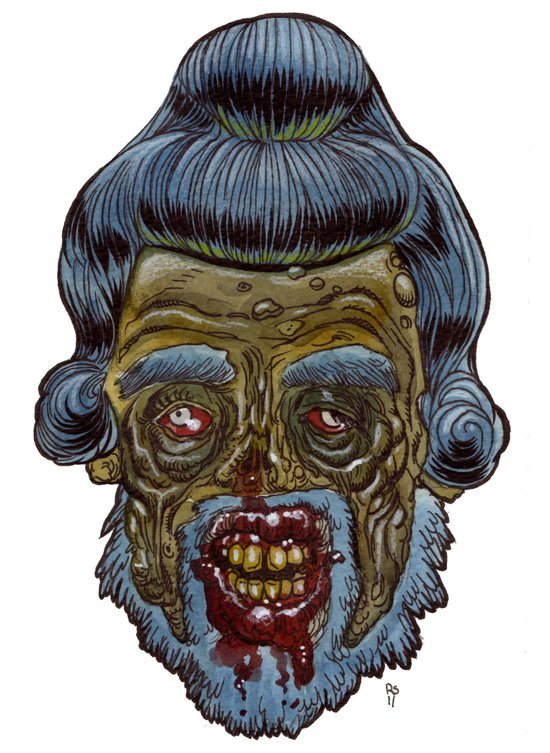 Heads of the Living Dead  Zombies: Zompaloompa Zombie Art Print