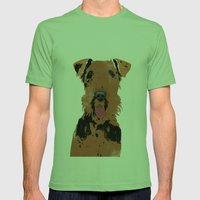 Airedale Terrier Dog Art Mens Fitted Tee Grass SMALL