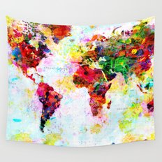 Abstract World Splatter Map Wall Tapestry