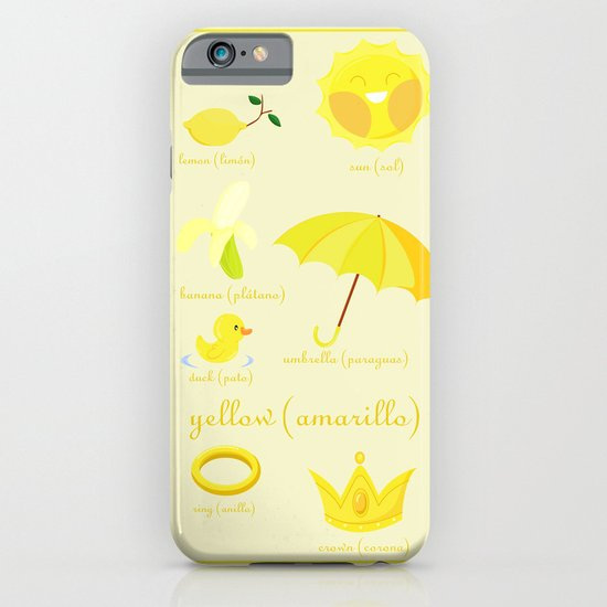 Colors: yellow (Los colores: amarillo) iPhone & iPod Case