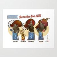 Scotties For All! Art Print
