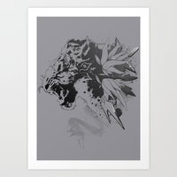 Snow Leopard (Grey) Art Print