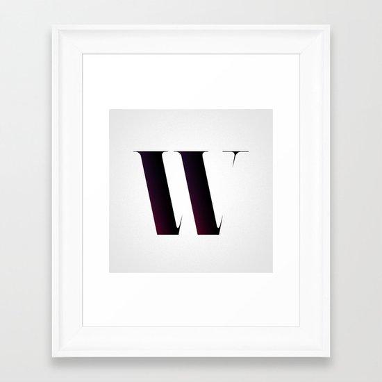 The Letter W Framed Art Print