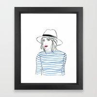 Stripes & Red Lips Framed Art Print