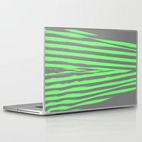 stripes Laptop & iPad Skins featuring Green & Gray Stripes by 2sweet4words Designs