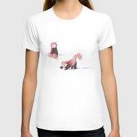 Red Pandas In The Snow Womens Fitted Tee White SMALL