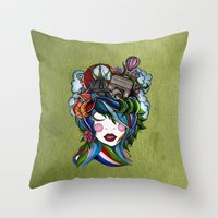 Paris girl in green Throw Pillow
