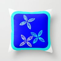 MCM Blue Aqua Flowers Throw Pillow