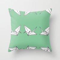 Paper Crane Motif, 2013. Throw Pillow