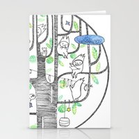 happy tree (black and green) Stationery Cards