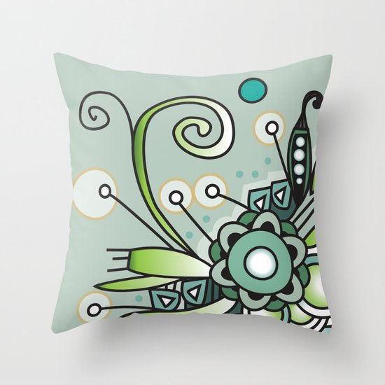 Ornate square zentangle, Jade Color Throw Pillow