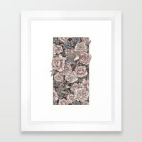Flowers & Swallows Framed Art Print