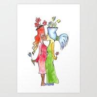 Lesbian Flower Women Kis… Art Print