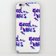 iPhone & iPod Skin featuring Good Vibes – Magenta &… by Cat Coquillette