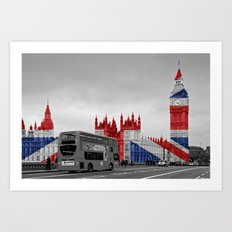 Big Ben, London Bus and Union Jack Flag Art Print