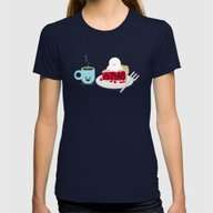 Coffee And Pie Womens Fitted Tee Navy SMALL