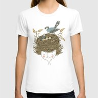 Bird Hair Day Womens Fitted Tee White SMALL