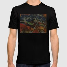War Of The Worlds Script Print SMALL Mens Fitted Tee Black