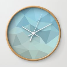 Cadet Blue Orange Abstract Low Polygon Background Wall Clock