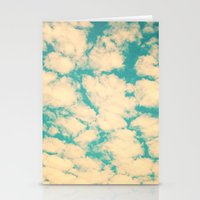 Clouds and Sky (Retro and vintage blue - turquoise sky and clouds) Stationery Cards