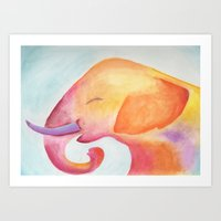Cheerful Elephant v.1 Art Print