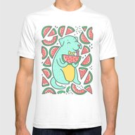 Watermelon Dog Mens Fitted Tee White SMALL