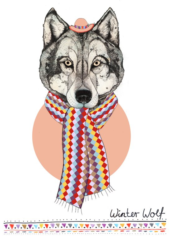 Winter Wolf // Festive Furries No.4 Art Print