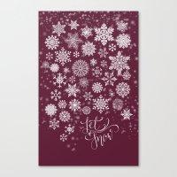 Let It Snow - Berry Canvas Print