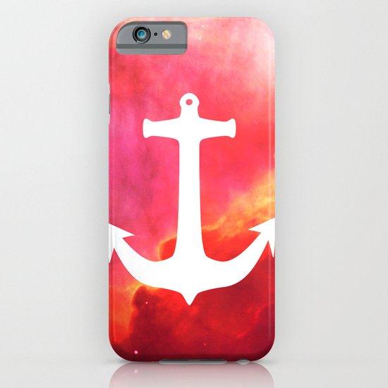 Galaxy Nebula Pink Retro White Nautical Anchor iPhone & iPod Case