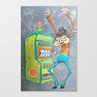 Skinny Pig Playing Slot … Canvas Print
