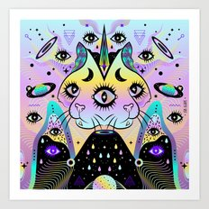 Power of Three Cats Art Print