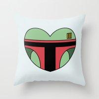 Boba Fett Character Heart Throw Pillow