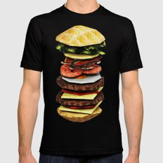 Graphic Burger Black Mens Fitted Tee SMALL