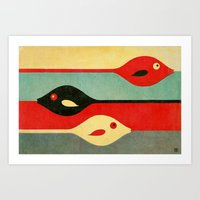 fish Art Prints featuring Three Fish in My Mind by Fernando Vieira
