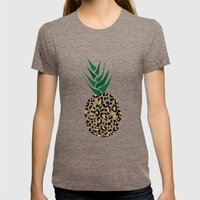 Leopard Pineapple Picture Womens Fitted Tee Tri-Coffee SMALL