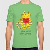 Big Fat Yellow Cat Mens Fitted Tee Grass SMALL