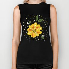 Abstract Yellow Primrose Flower Biker Tank