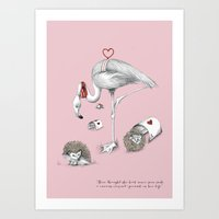 Flamingo Croquet Art Print